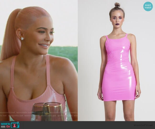 The Hot Pink PVC Mini Dress by Laroxx worn by Kylie Jenner (Kylie Jenner) on Keeping Up with the Kardashians
