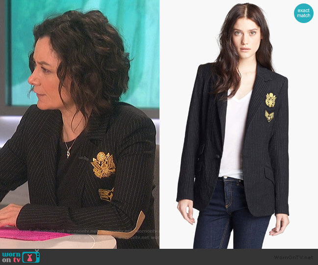 Revelry Patch Blazer by Laveer worn by Sara Gilbert (Sara Gilbert) on The Talk