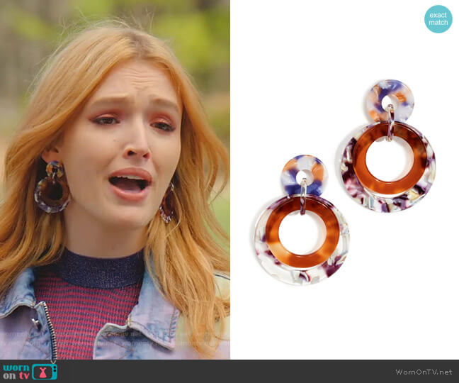 Banded Hoop Earrings by Lele Sadoughi worn by Kirby Anders (Maddison Brown) on Dynasty