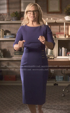 Linda's purple button detail dress on Lucifer