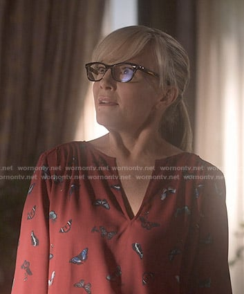 Linda's red butterfly print blouse on Lucifer