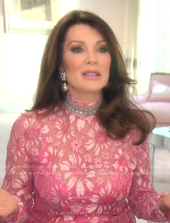 Lisa's pink floral sheer top on The Real Housewives of Beverly Hills