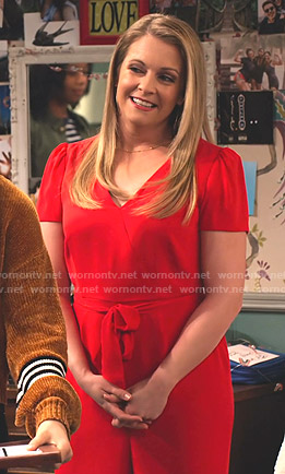 Liz's red wrap jumpsuit on No Good Nick