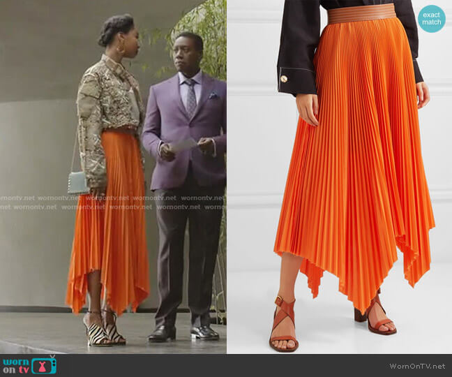 Asymmetric Pleated Midi Skirt by Loewe worn by Monica Colby (Wakeema Hollis) on Dynasty