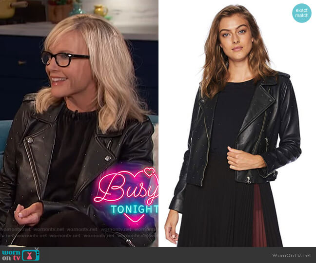 Pin Dot Moto Jacket by Lucky Brand worn by Rachael Harris on Busy Tonight
