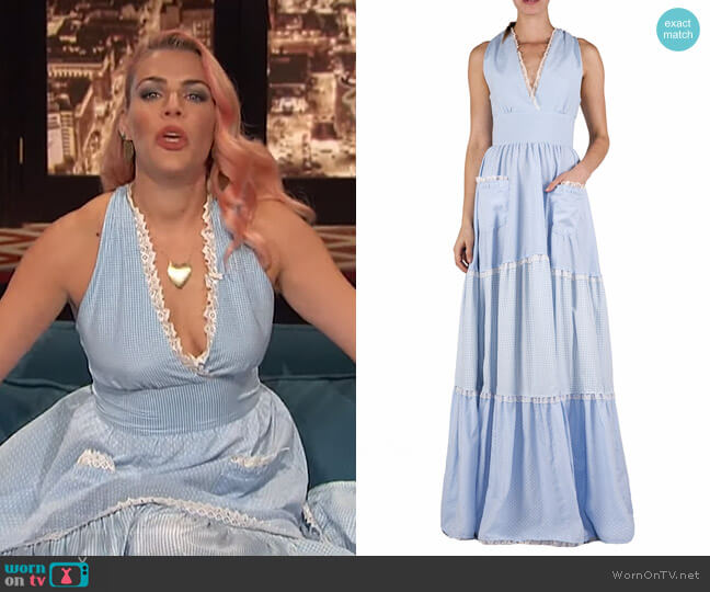 Tiered Mixed Cotton Maxi Dress by Luisa Beccaria worn by Busy Philipps  on Busy Tonight