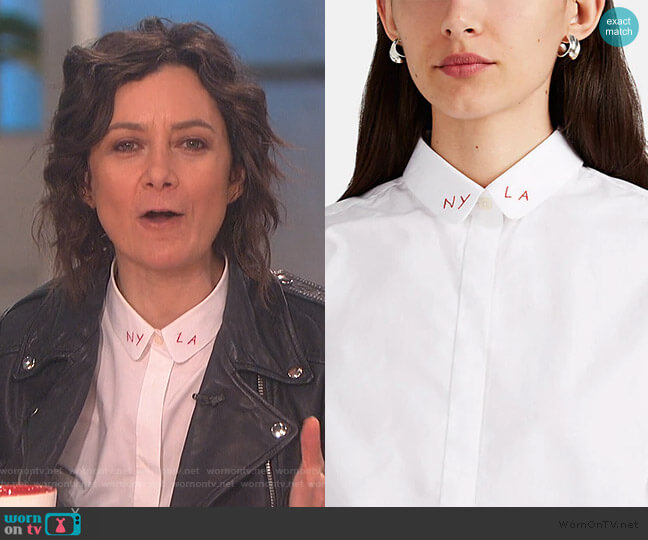 Claudine Embroidered Cotton Poplin Blouse by Maison Labiche worn by Sara Gilbert  on The Talk