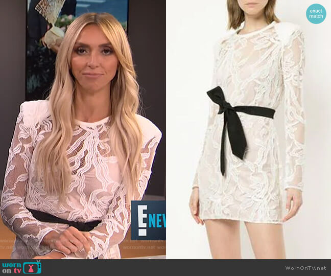 Belted Lace Mini Dress by Manning Cartell worn by Giuliana Rancic  on E! News