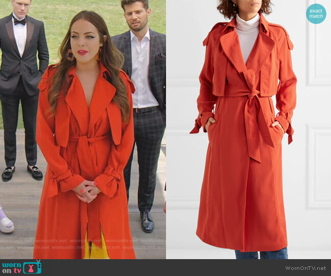Belted Cady Trench Coat by MICHAEL Michael Kors worn by Fallon Carrington (Elizabeth Gillies) on Dynasty