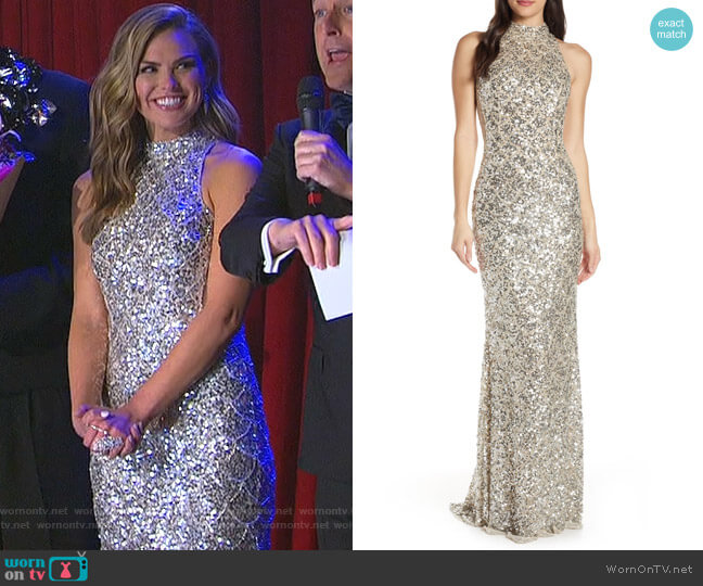 Scallop Pattern Sequin Gown by Mac Duggal worn by Hannah Brown  on The Bachelorette