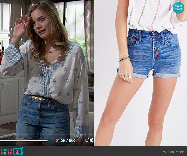 Madewell High-rise Denim Boyshorts Button-through Edition worn by Hope Logan (Annika Noelle) on The Bold & the Beautiful