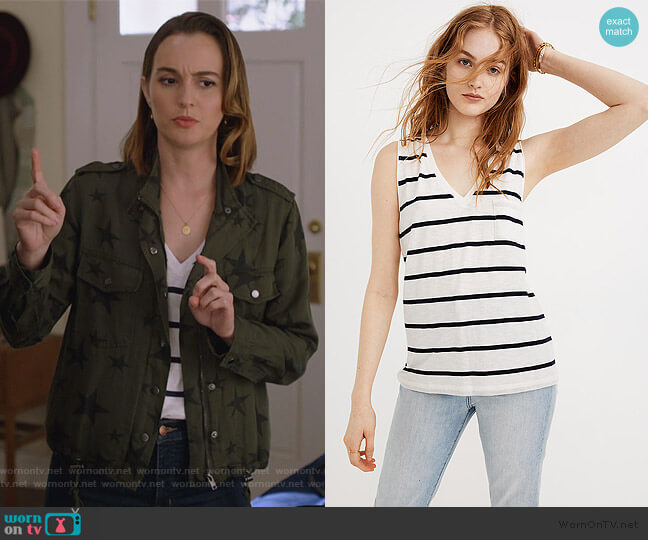 Whisper Cotton V-Neck Pocket Tank in Creston Stripe by Madewell worn by Angie (Leighton Meester) on Single Parents