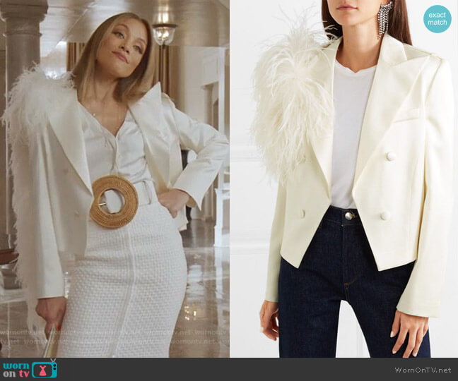 Lubeck Feather-Trimmed Blazer by Magda Butrym worn by Dominique Deveraux (Michael Michele) on Dynasty