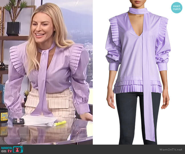 I'll Catch You If You Fall Pinstripe Pleated Top by Maggie Marilyn worn by Morgan Stewart  on E! News