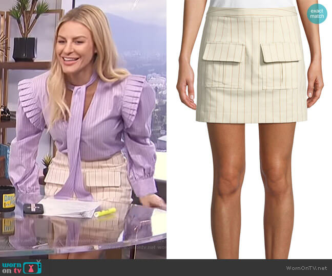 We Can Climb This Mountain Pinstripe Mini Skirt by Maggie Marilyn worn by Morgan Stewart  on E! News