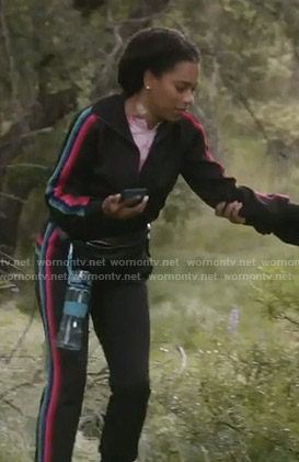 Maggie's black side striped track jacket and pants on Grey's Anatomy