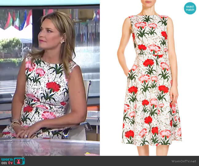 Maia Floral-Print Midi Dress by Erdem worn by Savannah Guthrie  on Today