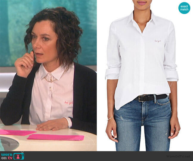 Button-up 'Bad Girl' shirt by Maison Labiche worn by Sara Gilbert  on The Talk