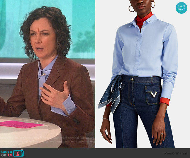 Claudine Embroidered Cotton Blouse by Maison Labiche worn by Sara Gilbert  on The Talk