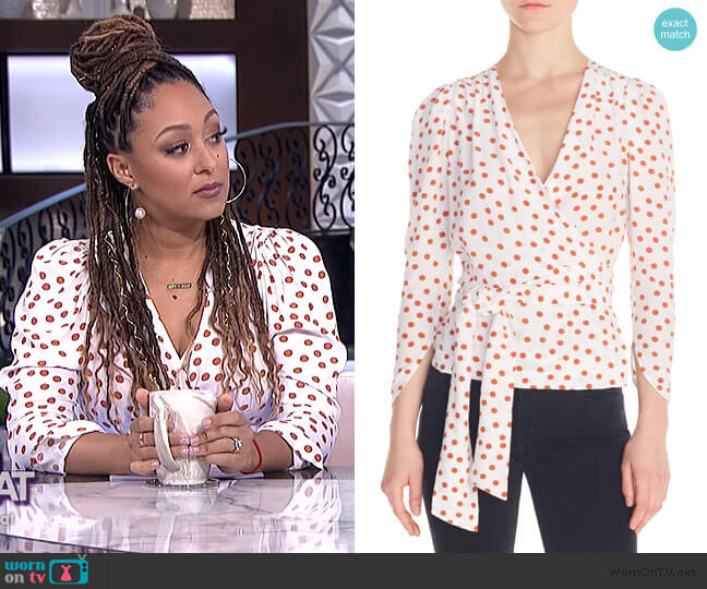 Polka Dot Wrap Blouse by Maje worn by Tamera Mowry  on The Real