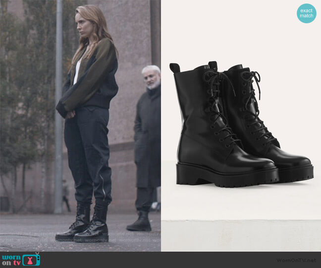 Ranger Style Booties by Maje worn by Villanelle (Jodie Comer) on Killing Eve