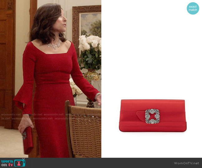 Manolo Blahnik Gothisi Clutch worn by Selina Meyer (Julia Louis-Dreyfus) on Veep