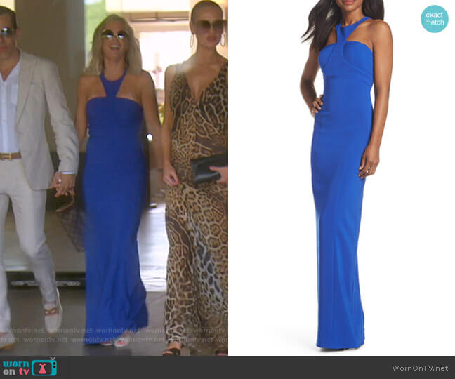 Ava Racer Column Gown by Bianca Nero worn by Teddi Mellencamp Arroyave  on The Real Housewives of Beverly Hills