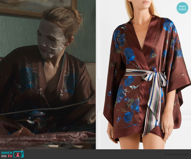 Floral-print silk-satin kimono by Meng worn by Villanelle (Jodie Comer) on Killing Eve