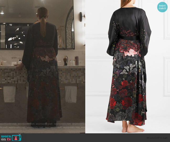Floral-print silk-satin robe by Meng worn by Villanelle (Jodie Comer) on Killing Eve