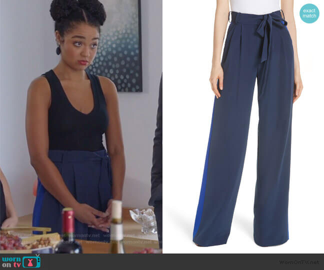 Natalie Italian Cady Side Stripe Wide Leg Pants by Milly worn by Kat Edison (Aisha Dee) on The Bold Type