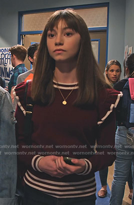 Molly's maroon ruffled sweater on No Good Nick