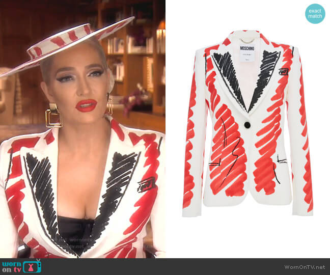 Tailored Crepe Jacket by Moschino worn by Erika Girardi  on The Real Housewives of Beverly Hills