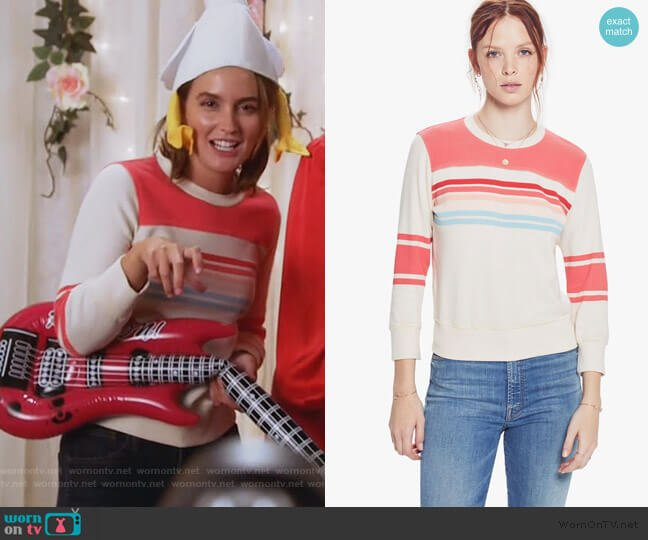 Koozie Half-Stripe Cotton Sweatshirt by Mother worn by Angie (Leighton Meester) on Single Parents