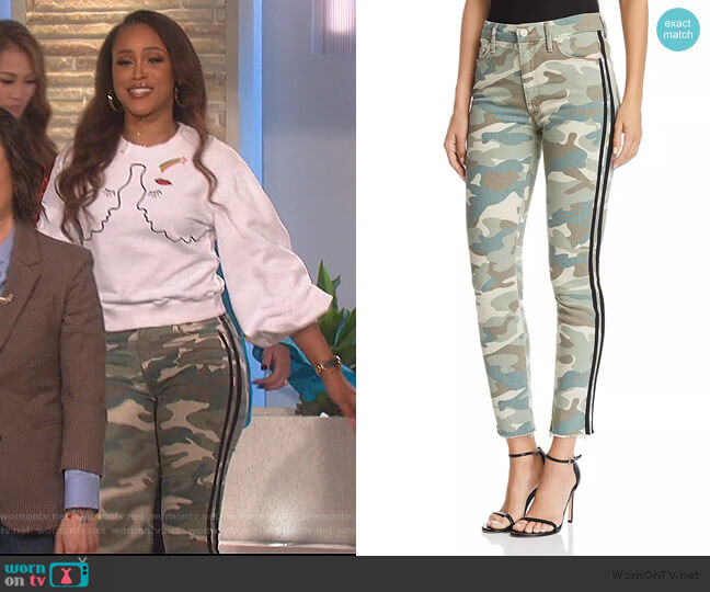 Looker High-Rise Camo Track Stripe Skinny Jeans by Mother worn by Eve  on The Talk