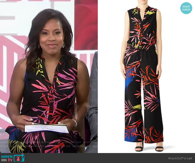 Leaf Print Jumpsuit by N Natori worn by Sheinelle Jones  on Today