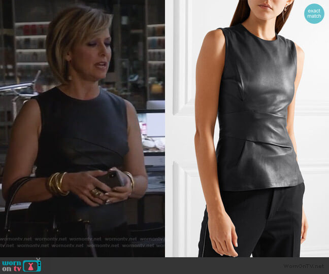 Gathered leather top by Narciso Rodriguez worn by Jacqueline (Melora Hardin) on The Bold Type