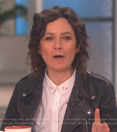 Sara's LA NY white button down blouse on The Talk