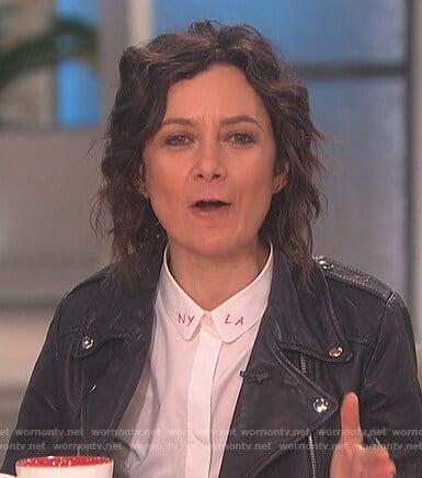 Sara's LA NY white button down blouse on The Talk