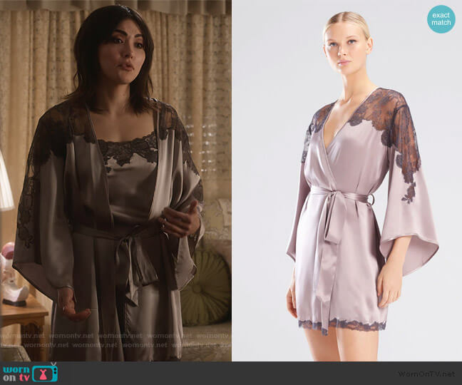 Lolita Lacy Wrap by Josie Natori worn by Cassidy Barrett (Daniella Pineda) on What/If