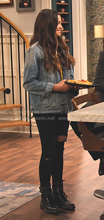 Nick's denim jacket and studded combat boots on No Good Nick