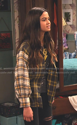 Nick's mixed plaid shirt on No Good Nick