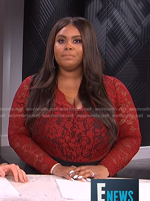 Nina's red floral lace top on E! News