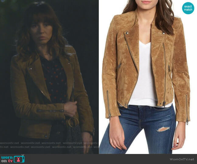 No Limit Suede Moto Jacket by BlankNYC Denim worn by Judy Hale (Linda Cardellini) on Dead to Me