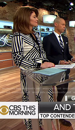 Norah's white printed midi dress  on CBS This Morning