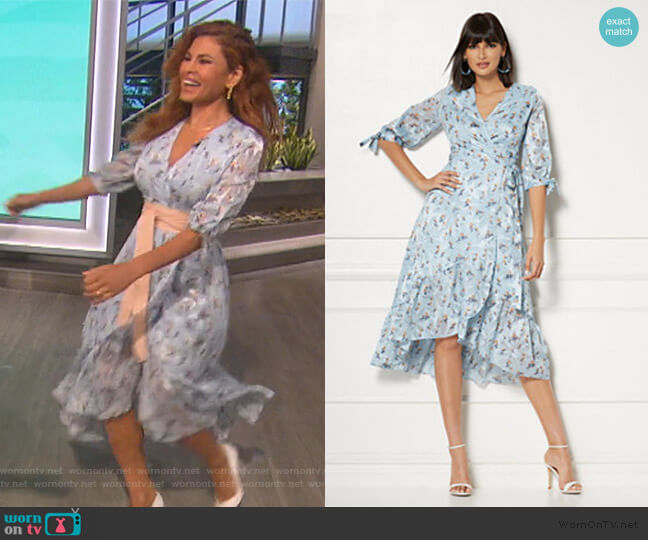 Cassidy Floral Wrap Dress by New York & Company worn by Eva Mendes on The Talk