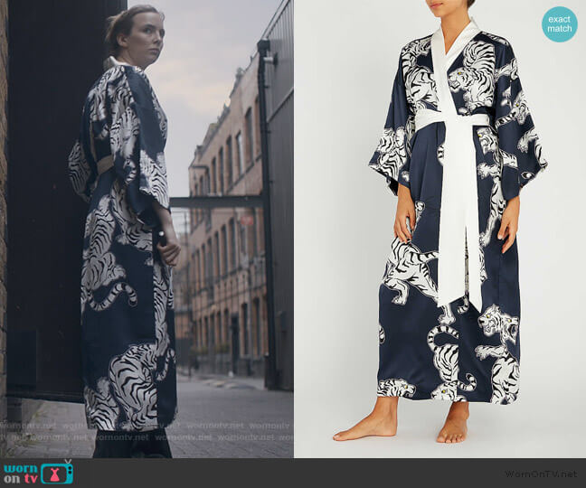 Queenie Silk Robe by Olivia Von Halle worn by Villanelle (Jodie Comer) on Killing Eve