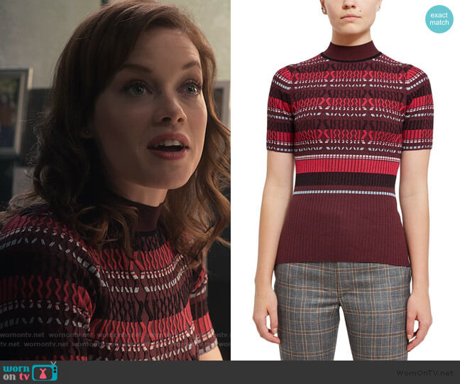 Fitted Ribbed Short-Sleeve Striped Top by Opening Ceremony worn by Lisa Donovan (Jane Levy) on What/If