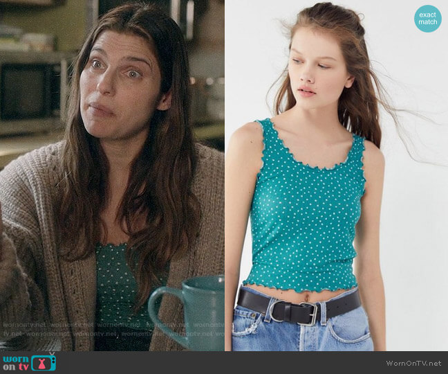 Out From Under August Ribbed Lettuce-Edge Tank Top worn by Rio (Lake Bell) on Bless This Mess