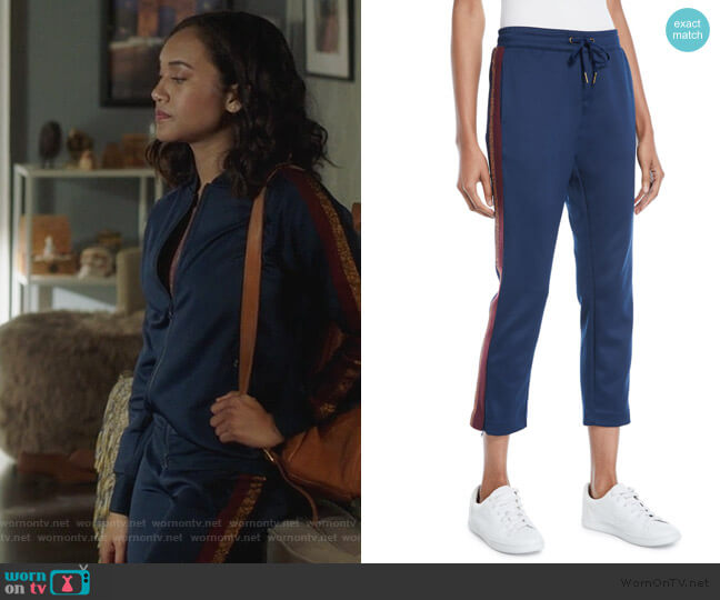 Cropped Drawstring Sweatpants with Metallic Stripes by Pam & Gela worn by Caitlin Martell-Lewis (Sydney Park) on PLL The Perfectionists