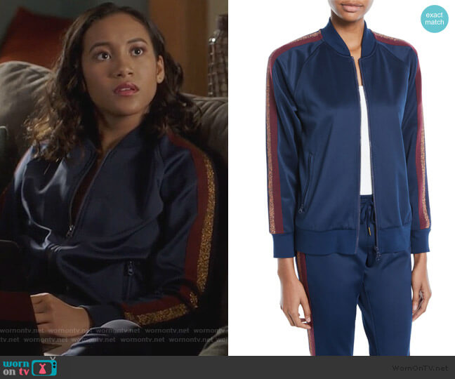 Zip-Front Track Jacket with Metallic Stripes by Pam & Gela worn by Caitlin Martell-Lewis (Sydney Park) on PLL The Perfectionists
